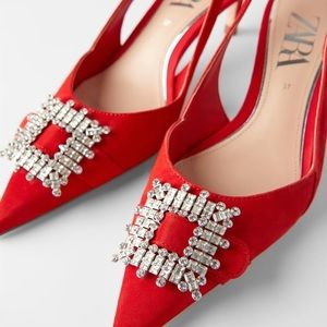 Red slingback leather Heels with Brooch